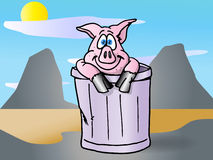Pig in the trash can Stock Images