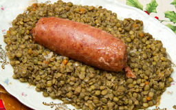 Pig trotter with lentils Royalty Free Stock Image