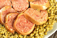 Pig trotter with lentils, closeup Royalty Free Stock Photo