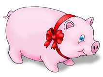 Pig using red ribbon Royalty Free Stock Photos