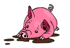 Pig. Vector illustration of a cartoon pig in dirt Royalty Free Stock Photos