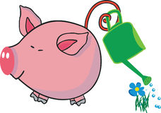 Pig watering flower. Vector illustration of pig watering flower royalty free illustration