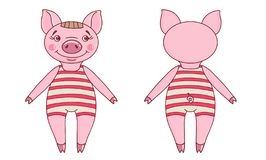 Pig wearing a leotard in a cartoon style royalty free illustration