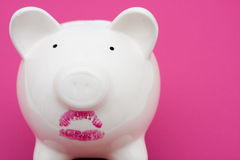 Pig Wearing Lipstick is Still a Pig. Pink piggy bank wearing red lipstick on pink background, pig wearing lipstick is still a pig Stock Photo