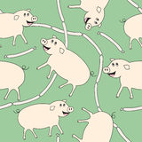 Pig and weenie. Seamless repeating pattern or background Royalty Free Stock Image