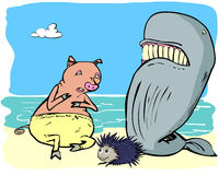 Pig and whale and hedgehog. Pig and whale meeting marine hedgehog on a beach Stock Photo