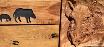 Pig wild, Sus scrofa, woodcut. Czech republic Stock Photos