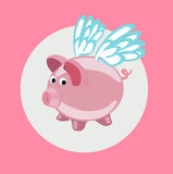 pig with wings flying flat design vector Stock Photo