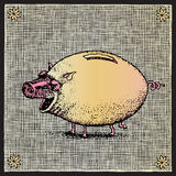 Pig woodcut Royalty Free Stock Photography