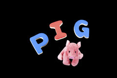 PIG in Wooden Letters  Royalty Free Stock Images