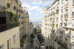 Pigalle, Paris. Panorama of the district Pigalle in Paris. Detail of street Royalty Free Stock Images