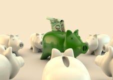 Piggybank circle with a brazilian real Royalty Free Stock Photos