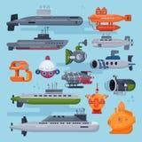 Pigboat för ubåtvektorhav eller undervattens- flottasegelbåt och skepptransport i uppsättning för illustration för djupt hav naut vektor illustrationer