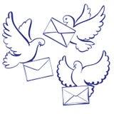 Pigeon avec l'enveloppe, lettre, croquis tiré par la main d'illustration de vecteur d'icône de bande dessinée réglée de collectio illustration libre de droits
