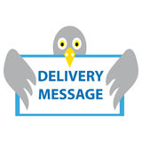 Pigeon with card delivery message. On white background. Vector illustration Stock Photos