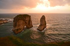 Pigeon cave. View of the pigeon cave in Beyrouth at the sunset Royalty Free Stock Photos