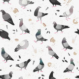 Pigeon in the City Seamless Pattern Royalty Free Stock Photos