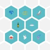 Pigeon d'icônes, brillant plats, accessoires et d'autres éléments de vecteur Photo stock