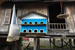 Pigeon dovecot. Bird nesting house hanging in front of old wooden champa house in south of Vietnam.  Royalty Free Stock Images