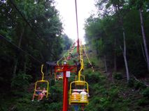 Pigeon Forge Tennessee mountain lift. Taking a ride on the lift to the top of the mountain at Pigeon Forge Tennessee Stock Images