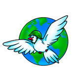 Pigeon globe war and peace. Pigeon closes its wings globe protecting against war Stock Photo