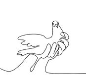 Pigeon in hands logo Stock Photography