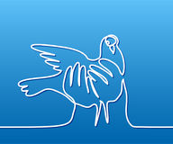 Pigeon in hands logo Stock Images