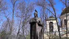 Pigeon on head of monument to knyaz Alexander Nevsky stock video footage