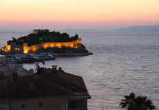 Pigeon Island Castle during Sunset in Kusadasi,Turkey Royalty Free Stock Photos