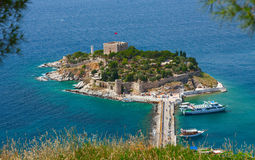 Pigeon Island with a Pirate castle. Turkey Stock Images