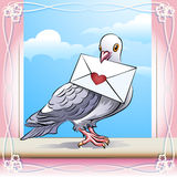 Pigeon with letter. Illustration with pigeon sitting on a window sill with love message in his beak against clear sky Stock Photo