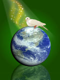 Pigeon the peace bird. Pigeon standing on top of the Earth and ocean; computer generate image Stock Photos
