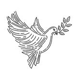 Pigeon of peace with an olive branch in its beak. Dove of peace. Symbol of peace. Line icon design. Vector illustration Royalty Free Stock Image