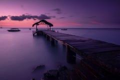 Pigeon Point. Jetty at sunset, Tobago, Trinidad & Tobago, Carribean, West Indies stock photo