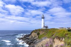Pigeon Point Lighthouse At Highway No 1 In California Royalty Free Stock Images