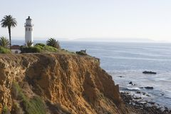 Pigeon Point Lighthouse On Cliff Stock Photo
