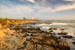 Pigeon Point Lighthouse, Lighthouse Outside San Francisco, California Stands At The End Of A Beautiful Suspension Bridge. Royalty Free Stock Photography