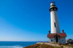 Pigeon Point Lighthouse on the Pacific Coast highway, California. Coastline Stock Image