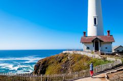 Pigeon Point Lighthouse on the Pacific Coast highway, California stock photos