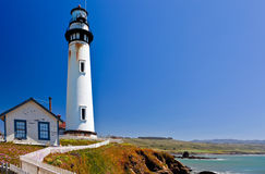 Pigeon Point Lighthouse, Pacific Ocean, California. 115-foot Pigeon Point Lighthouse, one of the tallest lighthouses in America, has been guiding mariners since Royalty Free Stock Photo