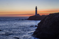 Pigeon Point Lighthouse in sunset Royalty Free Stock Photos