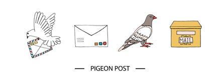 Pigeon post set stock illustration