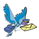 Pigeon postman. Cartoon vector illustration royalty free illustration