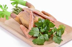 Pigeon with raw ingredients Stock Photos