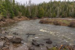 The Pigeon River flows through Grand Portage State Park and Indian Reservation. It is the Border between Ontario and Minnesota.  stock photos