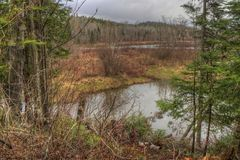 The Pigeon River flows through Grand Portage State Park and Indian Reservation. It is the Border between Ontario and Minnesota.  royalty free stock image