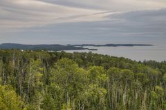 The Pigeon River flows through Grand Portage State Park and Indian Reservation. It is the Border between Ontario and Minnesota.  stock images