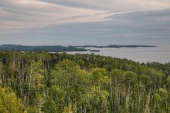 The Pigeon River flows through Grand Portage State Park and Indian Reservation. It is the Border between Ontario and Minnesota royalty free stock photo