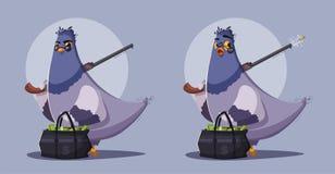 Pigeon a robber. Thug life. Cartoon vector illustration royalty free illustration
