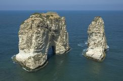 Pigeon rock. Symbol of beirut, lebanon Stock Image